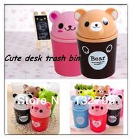 Cute Mini Animal Waste Bin Bucket Swing Cover Garbage Trash Dustbins Container Cartoon Desk Organizer Cup Holder