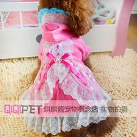 Qiqipet pet clothes teddy dog clothes summer princess lace polka dot one-piece dress