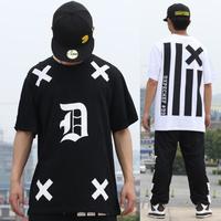 New 2014 brand fashion Fresh black fukk scale cross moon five-pointed star stripe short-sleeve T-shirt  man woman t shirt