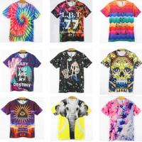Free Shipping 2014 Summer Harajuku style Women/Men 3D print personality Galaxy Skull Cotton T-shirt lovers tops Tees S-XXL Sale