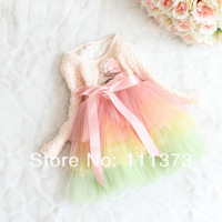 New arrived girls spring/autumn lace dress child fashion one-piece dress child long-sleeve dress colorful tulle dress 4pcs/lot