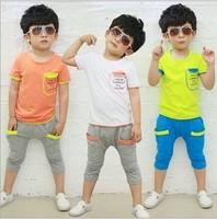 2014 boys suits letters sleeve pocket stitching summer models cotton leisure suit children' clothing boys baby kids set
