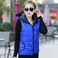 Afrs2013 thickening women's vest outerwear female vest fashionable casual with a hood cotton vest