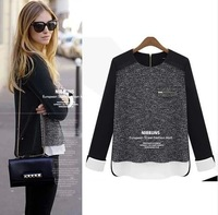 New 2014 all-match O-Neck Patchwork cardigan women sweater women