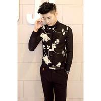 Men's Super Sexy Black Subtransparent White Flower Slim Fit Dress Casual Shirt