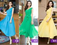 2013 lacing slim waist sleeveless chiffon one-piece dress fashion expansion bottom vest full dress 8613