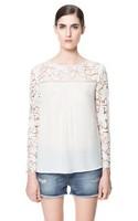 936 2014 fashion spring and summer casual crotch cutout patchwork chiffon o-neck long-sleeve shirt