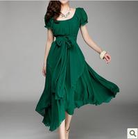 2013 spring and summer slim medium-long women's chiffon one-piece dress irregular big full dress 8618