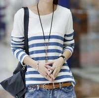 2014 NEW autumn women's loose plus size stripe long-sleeve basic T-shirt