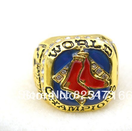Free shipping 1PCS best selling excellent design replica 18k gold boston Red Sox 2007 baseball World Championship Ring(China (Mainland))