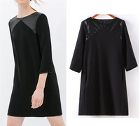 2014 New Spring & Summer Fashion Women's Crew Neck Faux Leather Shoulder Splice 3/4 Sleeve Loose Dresses Mini Short Dress