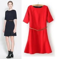 New 2014 ZA same style OL bodycon dress Slim Women dress with Belt 100% Good Quality!!!