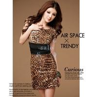 2014 Dress New Sexy Fashion Women's Crew Neck Leopard Dress free shipping 4163