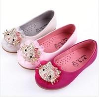 free ship fashion leather princess hello kitty kids baby girl children shoes diamond shoes size 26-30 5pair/lot wholesale