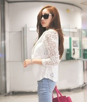 2014 summer new arrival women blazer  slim suit  lace patchwork   jacket  black white plus size