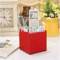 Free Shipping Red Knitting PU Leather Square Desktop Pencil Pen Holder Pot Holder Pen Container - Gift for Father or Children