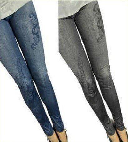 FREE SHIPPING Wholesale 5pc/lot Women Vintage Skinny Fake Jeans Jeggings Grey Blue(China (Mainland))