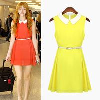 Free shipping 2014 new European and American women's large size was thin Slim doll collar sleeveless chiffon dress summer