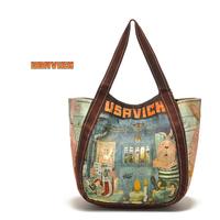 New cute cartoon canvas student big school shoulder bag handbag women's casual fresh preppy style bags