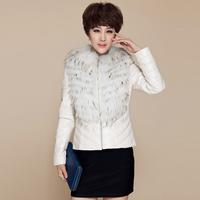 2013 ultralarge genuine leather clothing raccoon fur genuine sheepskin leather down coat female short slim design