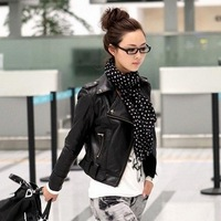 2014 new women  fahison faux leather jacket  rivet  outerwear turn-down collar  punk motorcycle PU coat  brown black