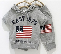 New Summer Boys and girls National flag leisure cotton T-shirt +alphabet pocket  Haren trousers  children's set  5sets/lot