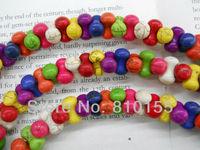 34pcs 14x8mm Bone Shape Howlite Beads Synthetic Turquoise Beads 15.5'' Strand
