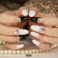 Hot new fashion woman nail decoration fake nails tips Black white Party Nail patch Free Shipping FN1406