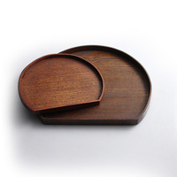 Free Shipping 2014 Vintage rustic derlook dish semi-cirle wooden wood pallet bowl pad 2 Different Pcs/Lot