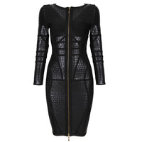 70% Discount! New High Quanlity Black Patchwork Zipper Long-sleeved Elastic Knitted bandage dress Women Evening Dress Bandage