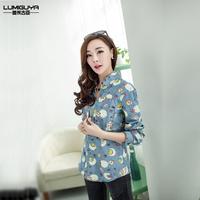 Spring DORAEMON cartoon shirt turn-down collar girls long-sleeve sweet elegant print denim shirt