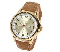 2014 Fashion Curren Man's Quartz Watch Men Sports Watch Timepiece with Date Window Genuine Leather Band Wristwatch Free Shipping