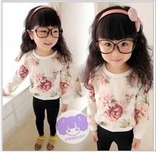Free Shipping!!! 2014 spring new Korean version of Girls organza blouse round neck pullovers printing ink Sweet jacket(China (Mainland))