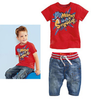 Boys Superman cowboy suit casual summer children's clothing   T-shirt + jeans size 2t-7t color red and blue free shipping
