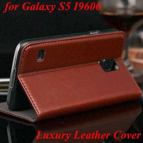 le plus récent de luxe en cuir portefeuille cas stand couverture pour samsung galaxy s5i9600 sac de téléphone couvrir avec fente pour carte style livre