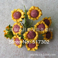 Free shipping 2014 bride with color paper flowers hand candy box accessories diy craft paper flower small sunflower