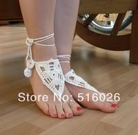 Bohemian Handmade Crochet Barefoot Sandals,Hippie Foot Thongs, Bridal, Bridesmaids, Summer, Beach, Sandals, Yoga, Bellydancing