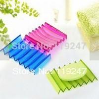 Creative Cute Wave Shape  Transparent Soap Case Box Soap Dish Free Shipping