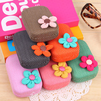 (Min order $10) Sweet contact lenses box flower polka dot cosmetic lenses companion box travel storage box