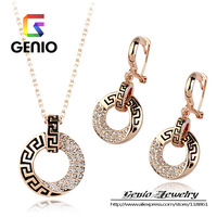 GN S078 18K Gold Plated Luxurious retro crystal  jewelry set Made with Genuine SWA ELEMENTS Austria Crystals!