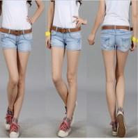 2014 new Korean version of cheap women's summer wear white lace was thin tight denim shorts sexy shorts women