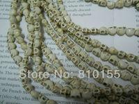 50pcs 8mm Howlite Skull Beads White Turquoise Skull Beads 15.5'' Strand