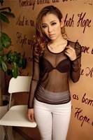 Korean lace round neck low collar Puff sleeve mesh shirt bottoming shirt sexy nightclub fashions a comfortable generation of fat