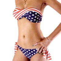 Hot Sale! New Women's Ladies Stars & Stripes US Padded Twisted Bandeau Bikini American Flag Swimwear Swimsuit, Free Shipping, JW
