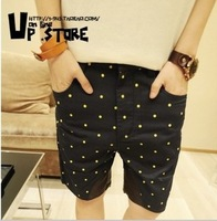 Free Shipping 2014 polka dot shorts fashion men pants trousers knee-length summer harem pants