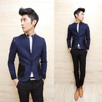 2013 mens blazer Pinioning slim design patchwork woolen stand collar blazer 2 navy blue