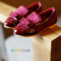 2014 spring and summer child princess female single shoes child leather suede vamp bow children shoes female