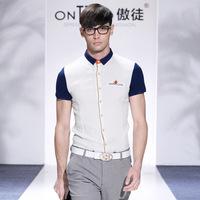 Fashion men big plus size famous brand flax cotton casual shirts 2014 mens luxury shirt short sleeve moda blusas masculinas