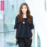 2013 chiffon fashion elegant o-neck fifth sleeve small ms-6024 chiffon shirt  sweet elegant