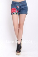 Free Shipping 2014 hot new fashion Chinese national style Embroidery Womens denim shorts